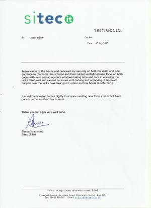 James Parker MyLock Locksmiths-testimonial from-sitec